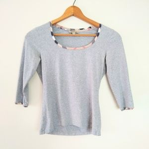 Burberry 3/4 sleeve gray top w/plaid accent S EUC